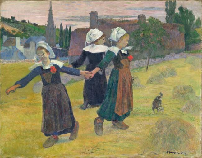 Tableau Danse bretonne des filles à Pont-Aven de Paul Gauguin
