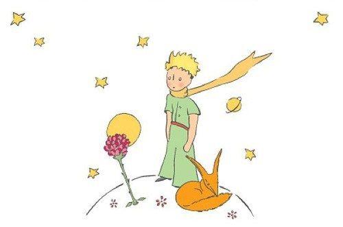 Dessin du Petit Prince avec le renard et la rose